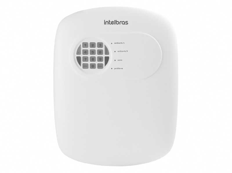 A central de alarme AMT 2008 RF é compacta e de fácil programação, possui 8 memórias para telefone, função pânico, emergência e zona 24 horas.